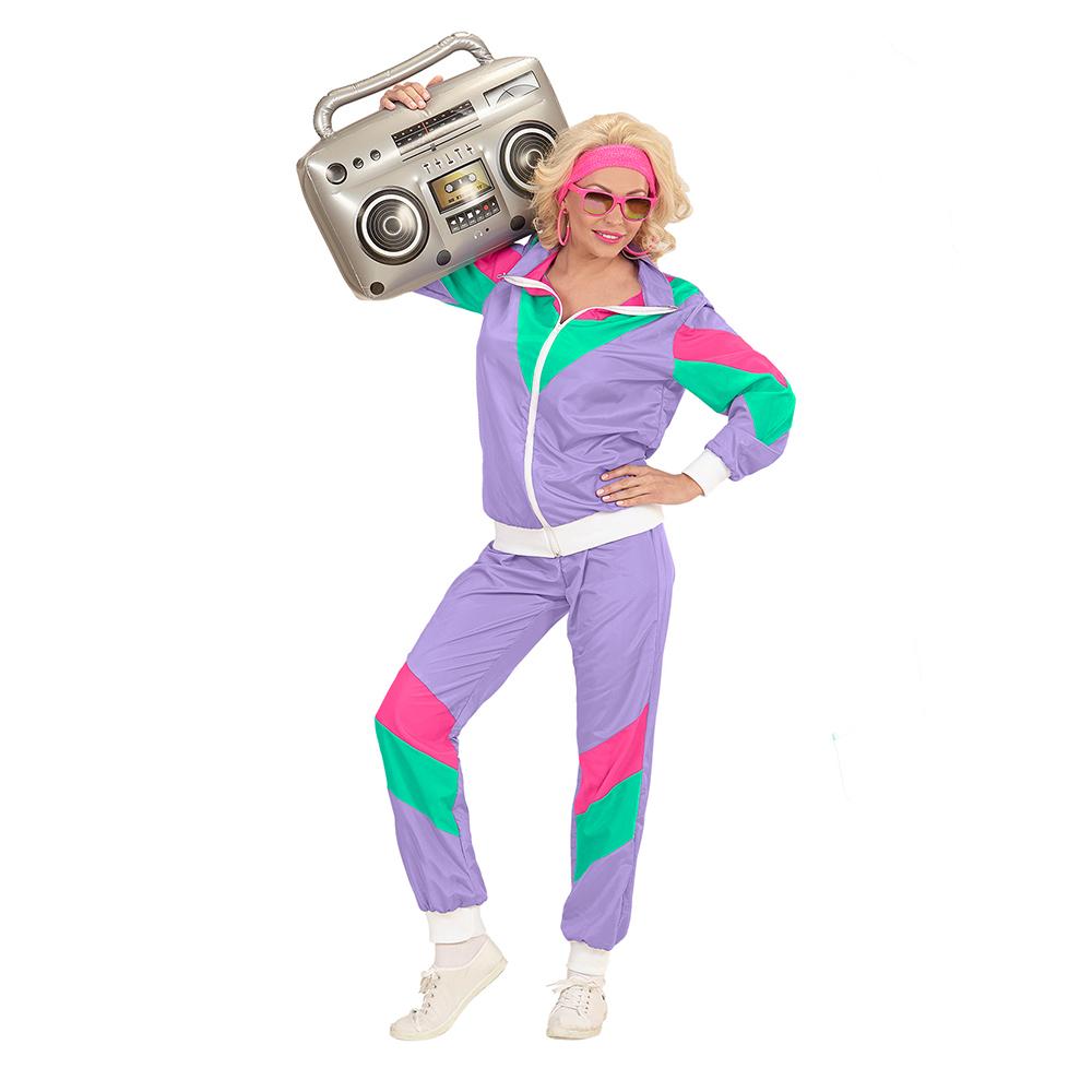 lila Karneval Verkleidung Hose Jacke Damen und Herren-Kostüm Jogging-Anzug 80er