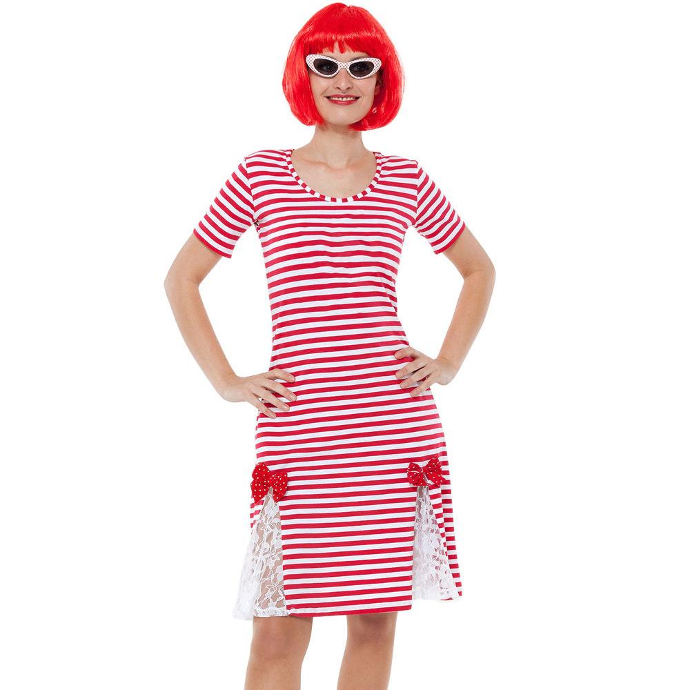 details zu rot-weißes ringel kleid für damen, ideal für karneval und köln  kostüme