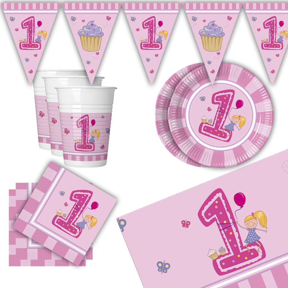 Baby Geburtstag Mädchen Rosa Dekoration Teller Becher Girlande 1